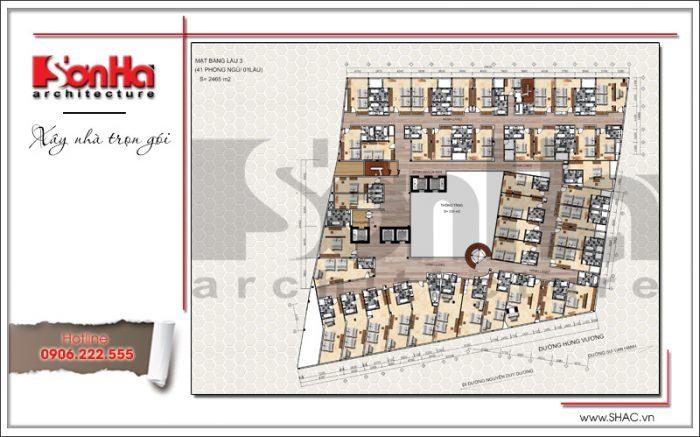 5 Mặt bằng công năng tầng 3 dự án khách sạn 5 sao Q MaMa tại sài gòn