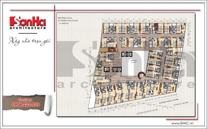 6 Mặt bằng công năng tầng 4 dự án khách sạn 5 sao Q MaMa tại sài gòn
