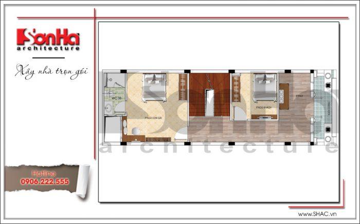 Bản vẽ mặt bằng công năng tầng 4 của nhà ống Pháp mặt tiền 5m tại Hải Phòng