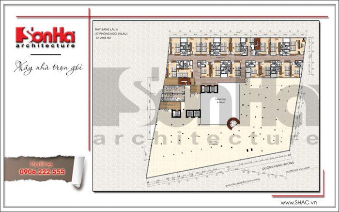 7 Mặt bằng công năng tầng 5 dự án khách sạn 5 sao Q MaMa tại sài gòn