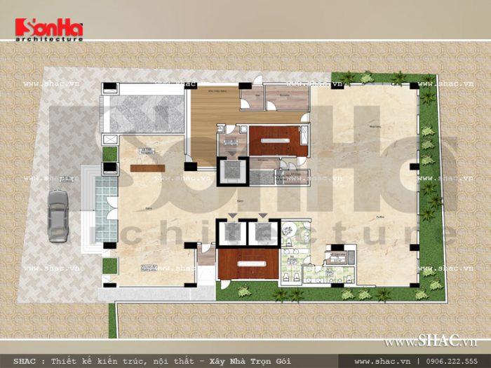 Bản vẽ mặt bằng công năng tầng 1 khách sạn 3 sao hiện đại tại Hải Phòng