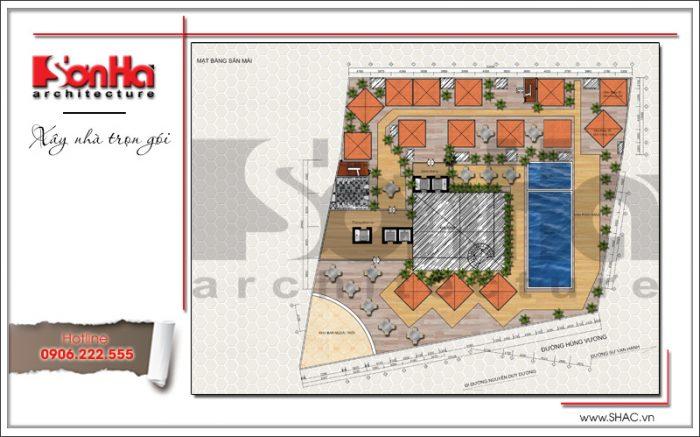 8 Mặt bằng tầng mái dự án khách sạn 5 sao Q MaMa tại sài gòn