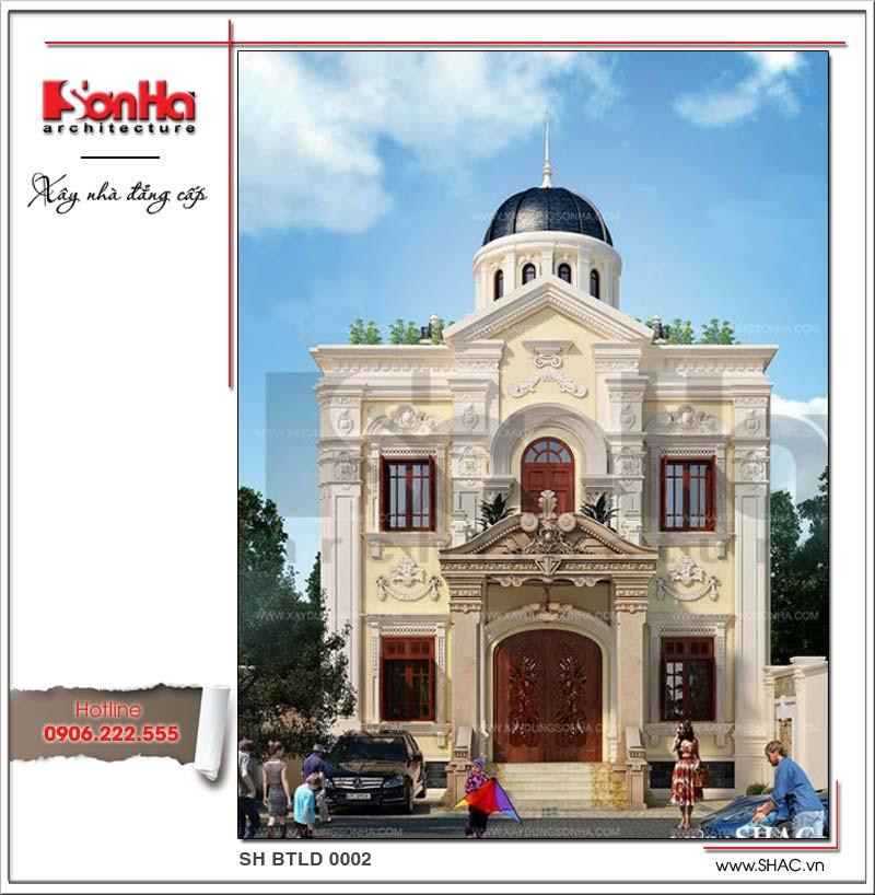 Điển hình mẫu biệt thự 1 trệt 1 lầu kiến trúc cổ điển mặt tiền đẹp được đánh giá cao