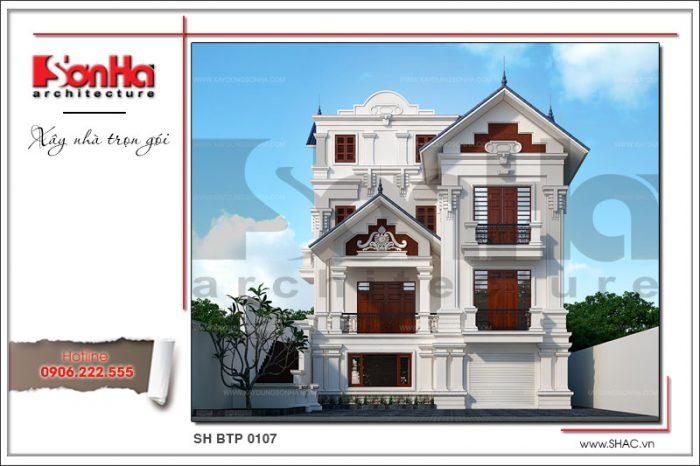 Kiến trúc mặt tiền đẹp của mẫu nhà biệt thự 3 tầng kiểu pháp được yêu thích của SHAC