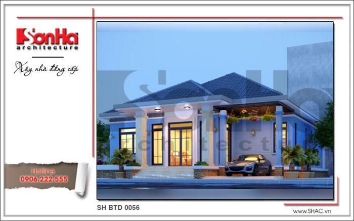 Kiến trúc mặt tiền đẹp của mẫu thiết kế biệt thự 1 tầng đẹp dễ dàng chinh phục mọi ánh nhìn