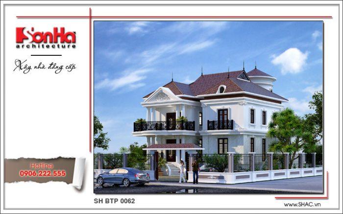 Kiến trúc mặt tiền đẹp của ngôi biệt thự 2 tầng phong cách tân cổ điển sang trọng mãn nhãn