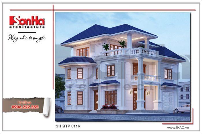 Kiến trúc mặt tiền đẹp của ngôi biệt thự tân cổ điển nổi bật với sự kết hợp linh hoạt chi tiết