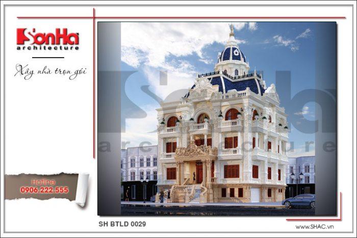 Kiến trúc mặt tiền đẹp và tinh tế của kiểu nhà biệt thự lâu đài cổ điển tại An Giang
