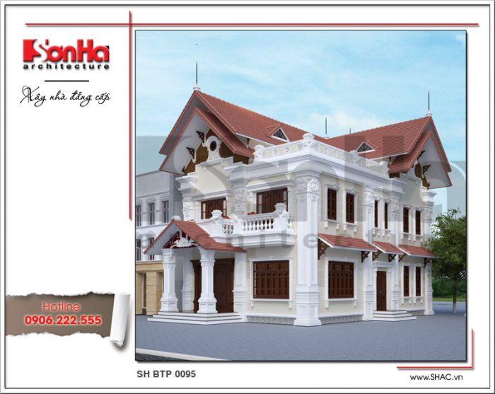 Kiến trúc mặt tiền khang trang được đánh giá cao của mẫu biệt thự 2 tầng mái ngói kiểu pháp
