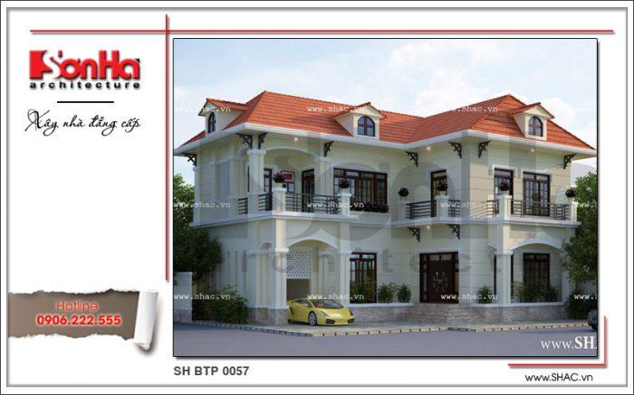 Mẫu biệt thự tân cổ điển 2 tầng đẹp và nổi bật với hệ mái ngói nhỏ xinh thiết kế tinh tế
