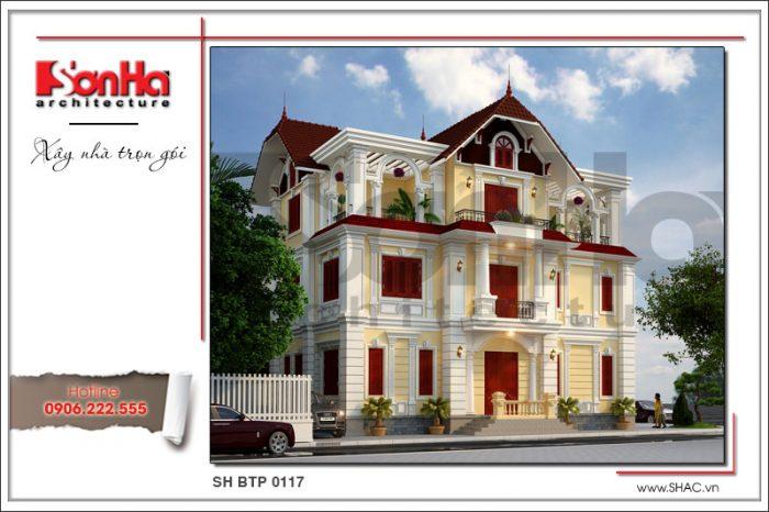 Mẫu biệt thự tân cổ điển 3 tầng đẹp và nổi bật với hệ mái ngói thiết kế tinh tế sang trọng