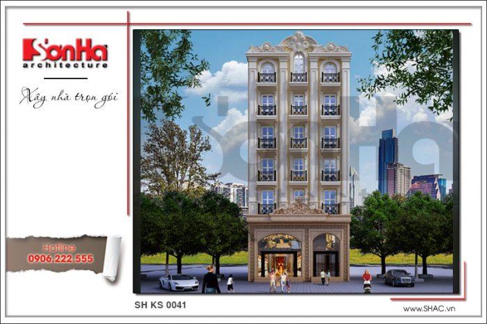 Mẫu mặt tiền đẹp của mẫu thiết kế khách sạn tiêu chuẩn 3 sao tại Hưng Yên thương hiệu SHAC
