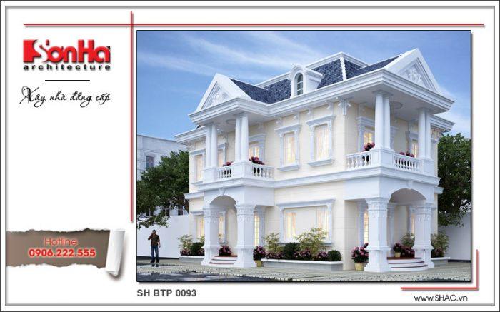 Mẫu thiết kế mặt tiền biệt thự kiến trúc pháp ấn tượng với gam màu tinh tế và hợp thời