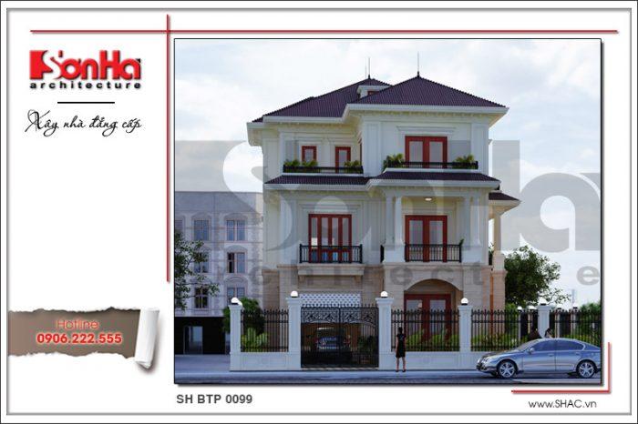 Mẫu thiết kế nhà biệt thự tân cổ điển sang trọng với bố trí mạch lạc ấn tượng từ nhiều góc