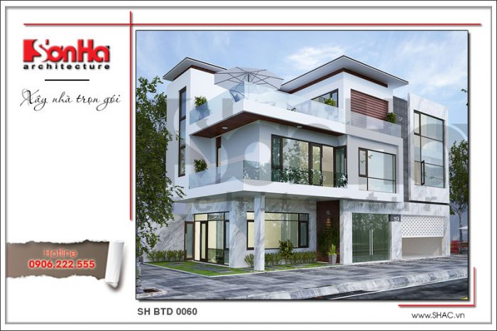 Phương án thiết kế biệt thự kiến trúc hiện đại điển hình mẫu nhà biệt thự 3 tầng đẹp