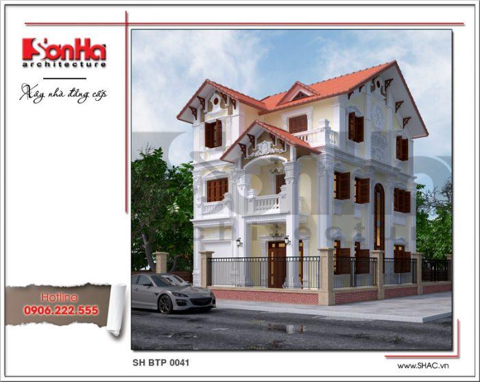 Phương án thiết kế kiến trúc mặt tiền biệt thự 3 tầng tân cổ điển đẹp thương hiệu SHAC