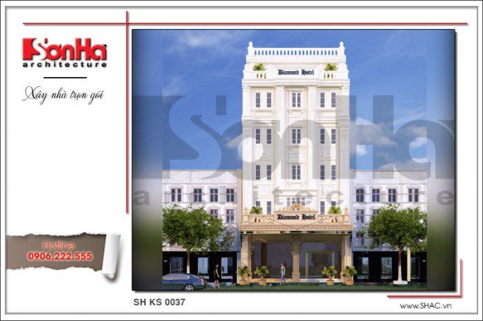 Phương án thiết kế kiến trúc mặt tiền khách sạn đẹp tiêu chuẩn 3 sao tại Quảng Ninh
