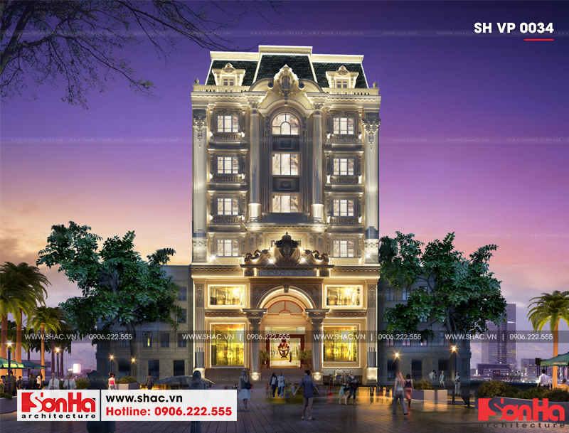 Mẫu thiết kế tòa nhà văn phòng kiến trúc Pháp sang trọng 6 tầng tại Sài Gòn – SH VP 0034 3