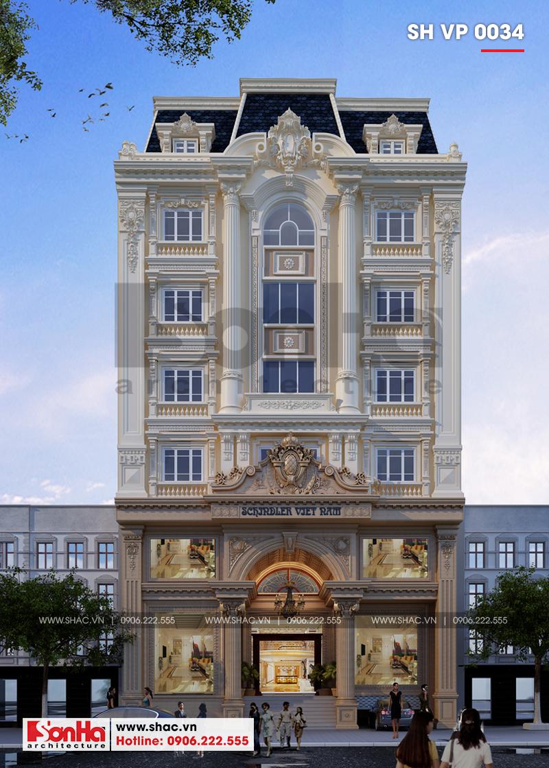 Mẫu thiết kế tòa nhà văn phòng kiến trúc Pháp sang trọng 6 tầng tại Sài Gòn – SH VP 0034 1