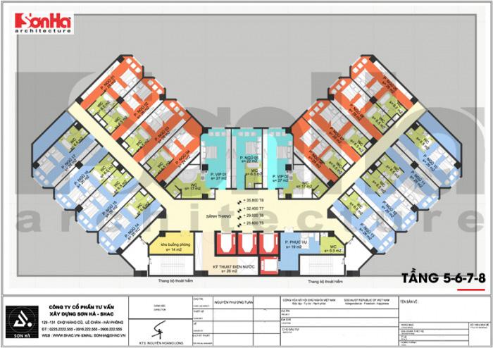 Bản vẽ thể hiện mặt bằng công năng các tầng từ tầng 5 đến tầng 8 là các phòng ngủ của khách sạn tiện nghi đáp ứng nhu cầu của du khách