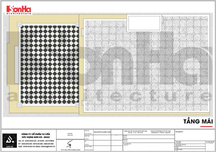 Bản vẽ bố trí mặt bằng công năng tầng mái khách sạn tân cổ điển 7 tầng tại Quảng Ninh