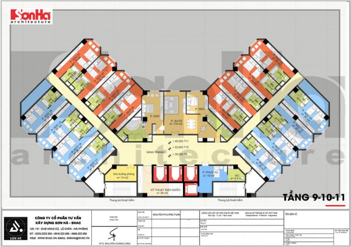 Mặt bằng tầng 9-10-11 của khách sạn cổ điển 4 sao tại Quảng Ninh vẫn bố trí cho các phòng ngủ cao cấp của quý khách hàng