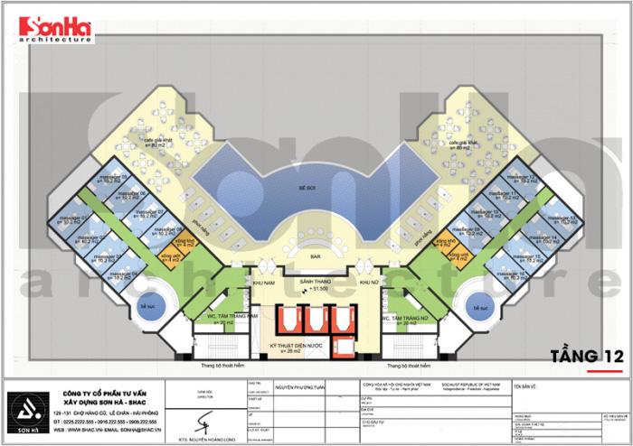 Bản vẽ công năng khách sạn tân cổ điển 4 sao với các chức năng đáp ứng nhu cầu của du khách như: bể bơi, massager, xông hơi…