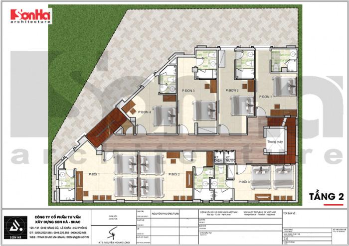 Quy hoạch công năng lầu 2 khách sạn tân cổ điển 3 sao tại Vũng Tàu