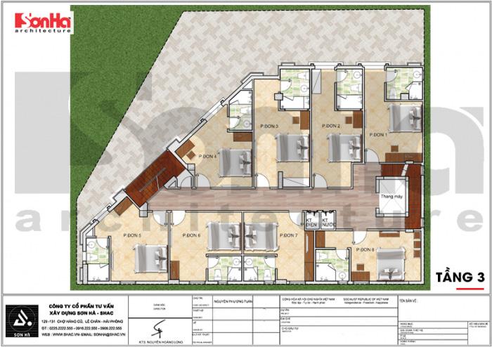 Quy hoạch công năng lầu 3 khách sạn tân cổ điển 3 sao tại Vũng Tàu