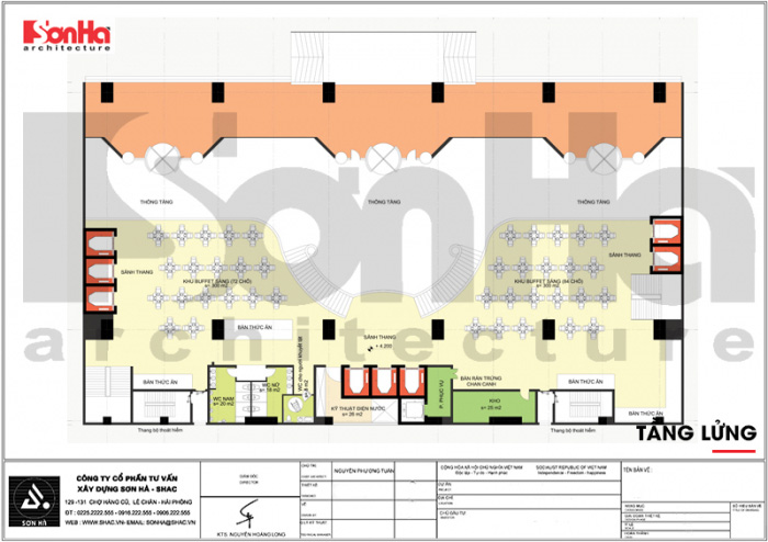 Bản vẽ bố trí công năng tầng lửng khách sạn kiến trúc tân cổ điển lịch lãm tại Quảng Ninh
