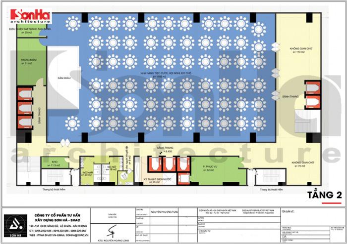Phương án bố trí công năng tầng 2 khách sạn tân cổ điển 4 sao là khu nhà hàng, tiệc cưới snag trọng