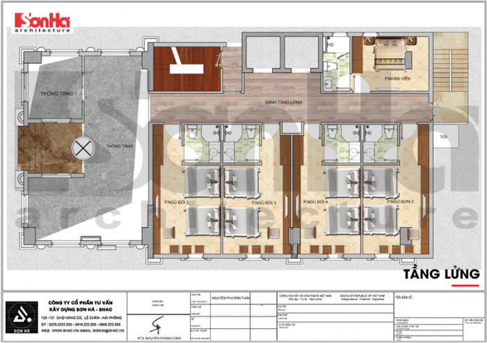 Bản vẽ bố trí mặt bằng công năng tầng lửng khách sạn tân cổ điển 7 tầng tại Quảng Ninh