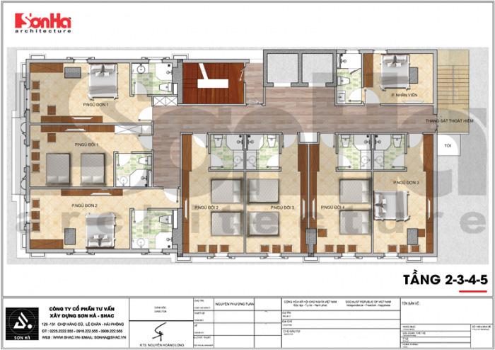 Bản vẽ bố trí mặt bằng công năng tầng 2 đến tầng 5 khách sạn tân cổ điển 7 tầng tại Quảng Ninh