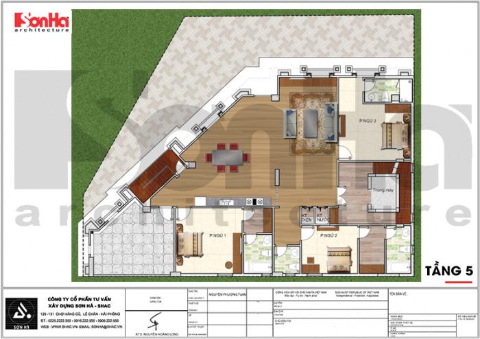 Quy hoạch công năng lầu 5 khách sạn tân cổ điển 3 sao tại Vũng Tàu
