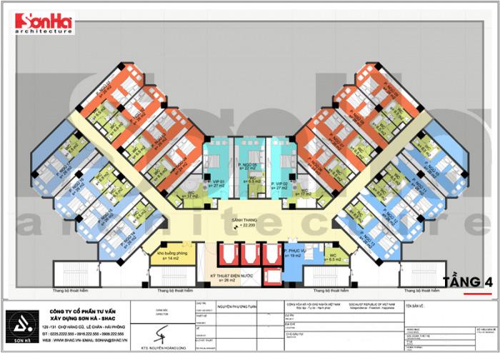 Bản vẽ thể hiện mặt bằng công năng tầng 4 dành cho các phòng ngủ của khách sạn thoáng đãng và tiện nghi