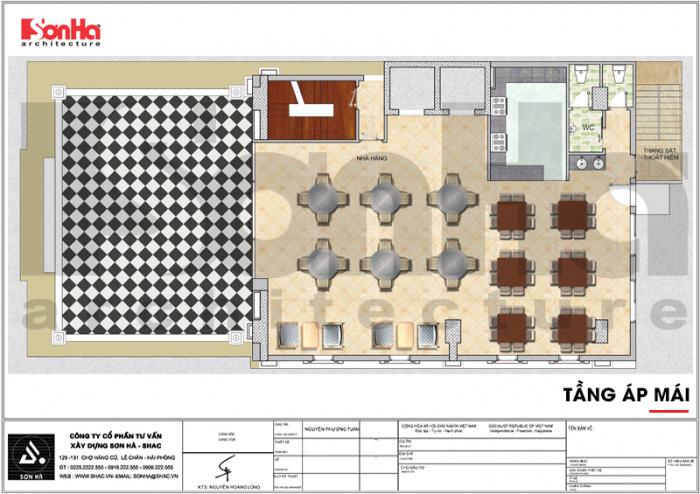 Bản vẽ bố trí mặt bằng công năng tầng áp mái khách sạn tân cổ điển 7 tầng tại Quảng Ninh
