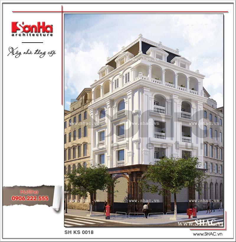 Mẫu thiết kế khách sạn mini 5 tầng kiến trúc Pháp sang trọng và tinh tế từng tiểu tiết