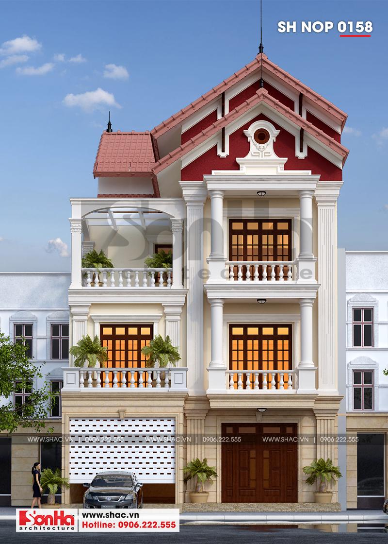 Xem ngay mẫu mặt tiền nhà phố đẹp 3 tầng tân cổ điển diện tích 158,4m2 tại Hải Phòng - SH NOP 0158 1