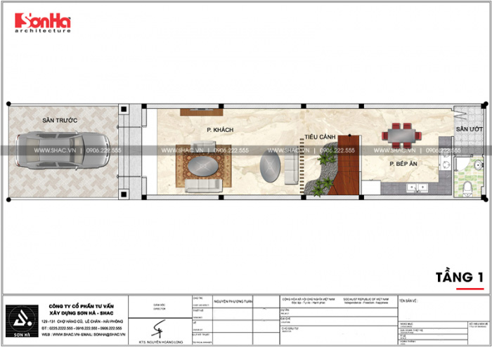 Bản vẽ mặt bằng công tầng 1 nhà ống kiến trúc pháp đẹp 3 tầng mặt tiền 4,5m