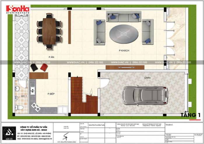 Cách bố trí công năng tầng 1 khoa học với gara, phòng bếp, phòng ăn và phòng khách