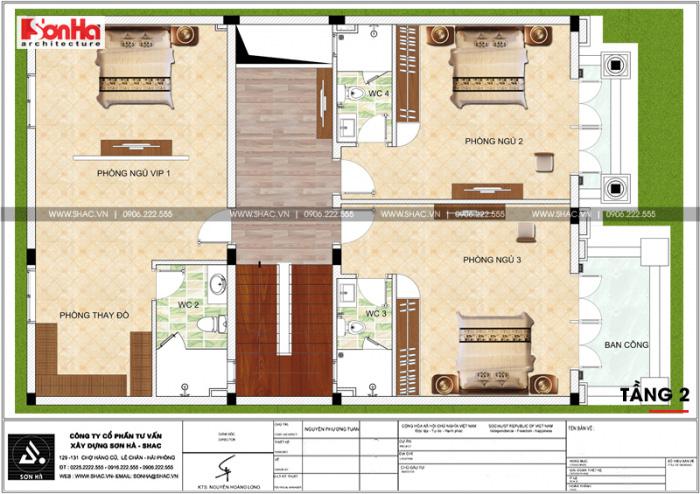 Không gian tầng 2 của nhà phố là nơi nghỉ ngơi của gia đình với các phòng ngủ tiện nghi