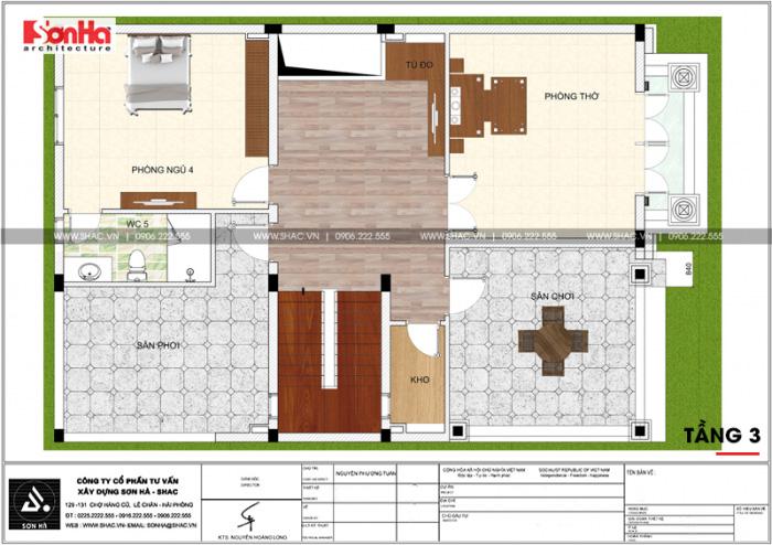 Tầng 3 của ngôi nhà phố mặt tiền rộng được bố trí 1 phòng ngủ với các phòng khác