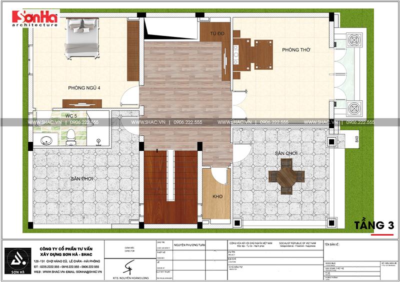 Xem ngay mẫu mặt tiền nhà phố đẹp 3 tầng tân cổ điển diện tích 158,4m2 tại Hải Phòng - SH NOP 0158 6