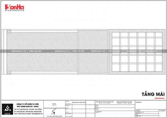 Bản vẽ mặt bằng công tầng mái nhà ống kiến trúc pháp đẹp 3 tầng mặt tiền 4,5m