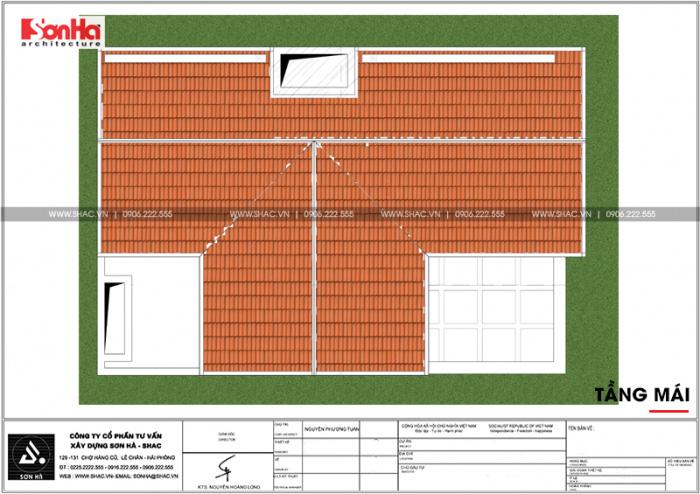 Còn đây là bản vẽ mặt bằng tầng mái của ngôi nhà phố diện tích hơn 158m2