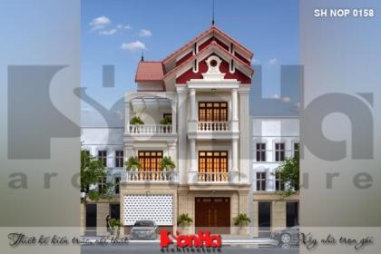Bìa thiết kế kiến trúc mặt tiền nhà phố cổ điển tại hải phòng sh nop 0158
