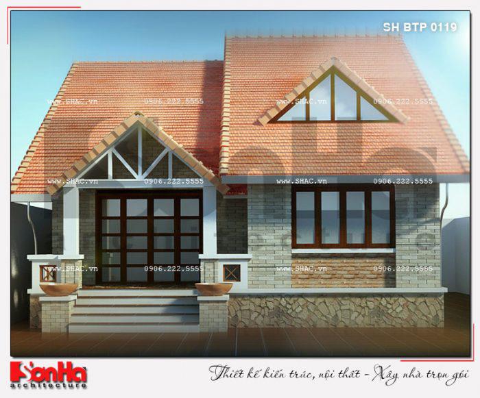 Mẫu nhà biệt thự mini 1 tầng đẹp 150m2 với mái thái màu sắc thanh nhã tinh tế
