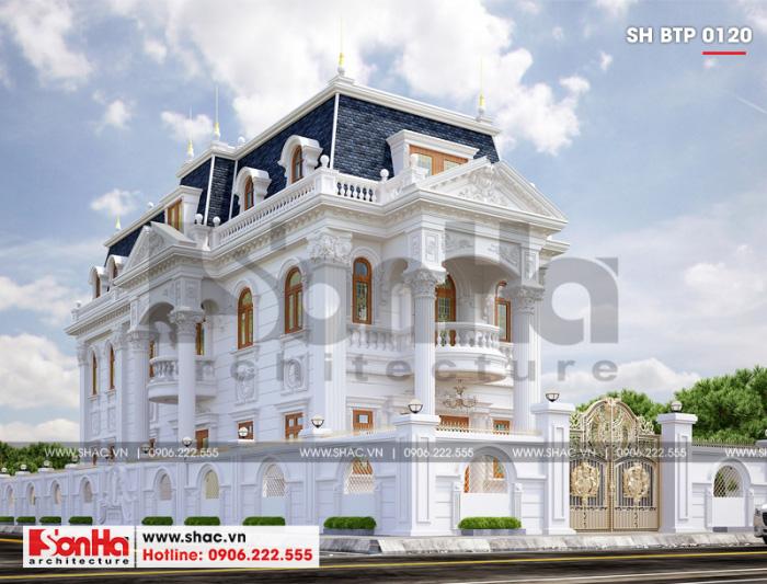 Mẫu thiết kế biệt thự Pháp cổ điển nổi bật với gam màu tinh tế thời thượng