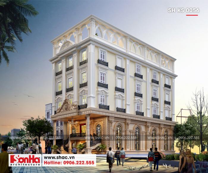 Kiến trúc ngoại thất ấn tượng và có chiều sâu của khách sạn 3 sao tại Hải Phòng