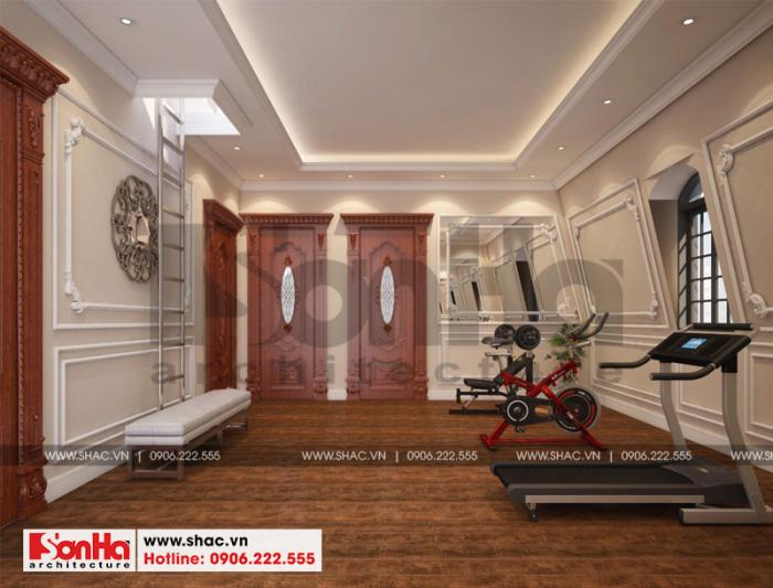 Thiết kế nội thất phòng tậm gym biệt thự cổ điển đẹp tại Cần Thơ